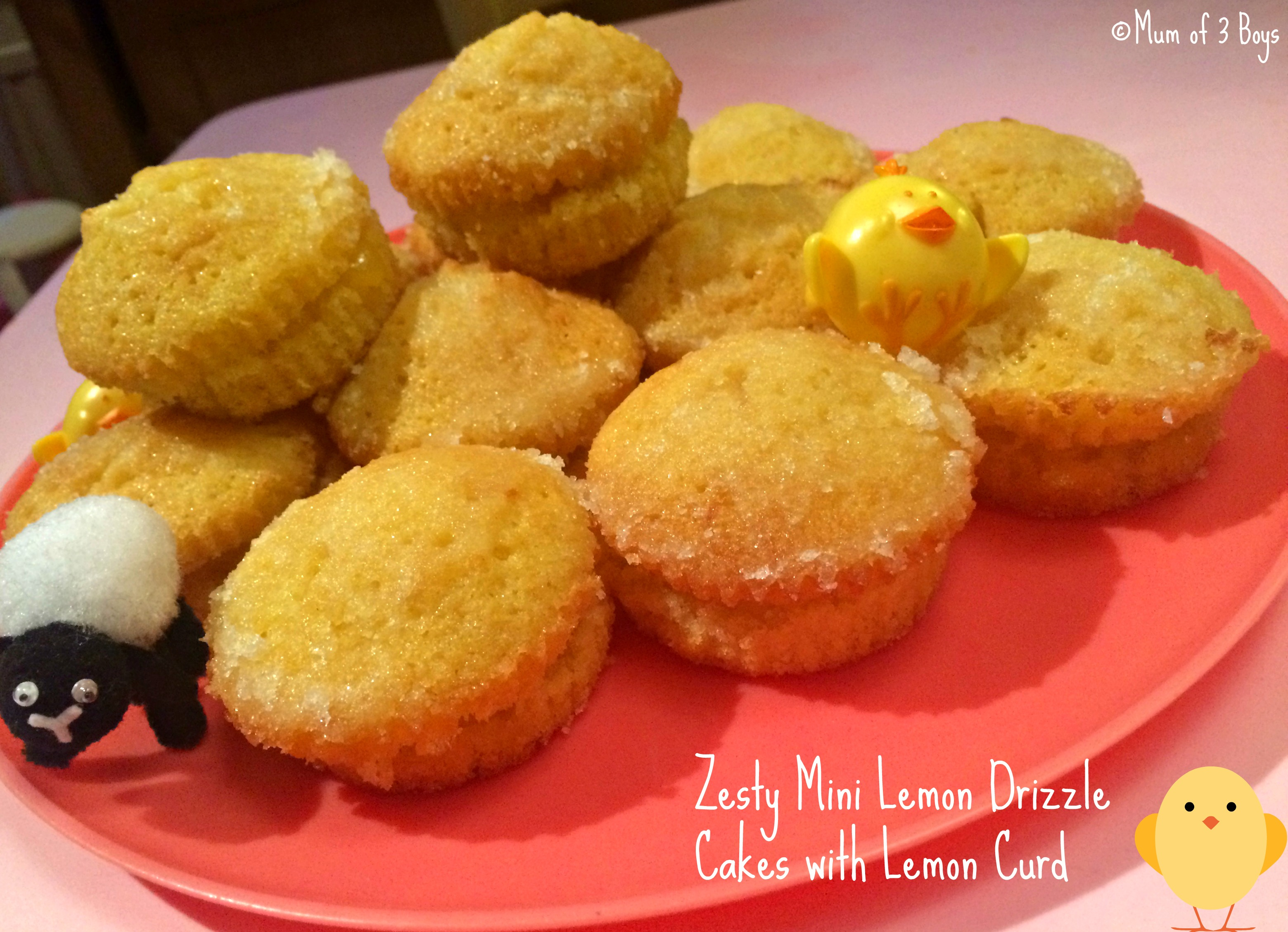 zesty mini drizzle cakes with lemon curd
