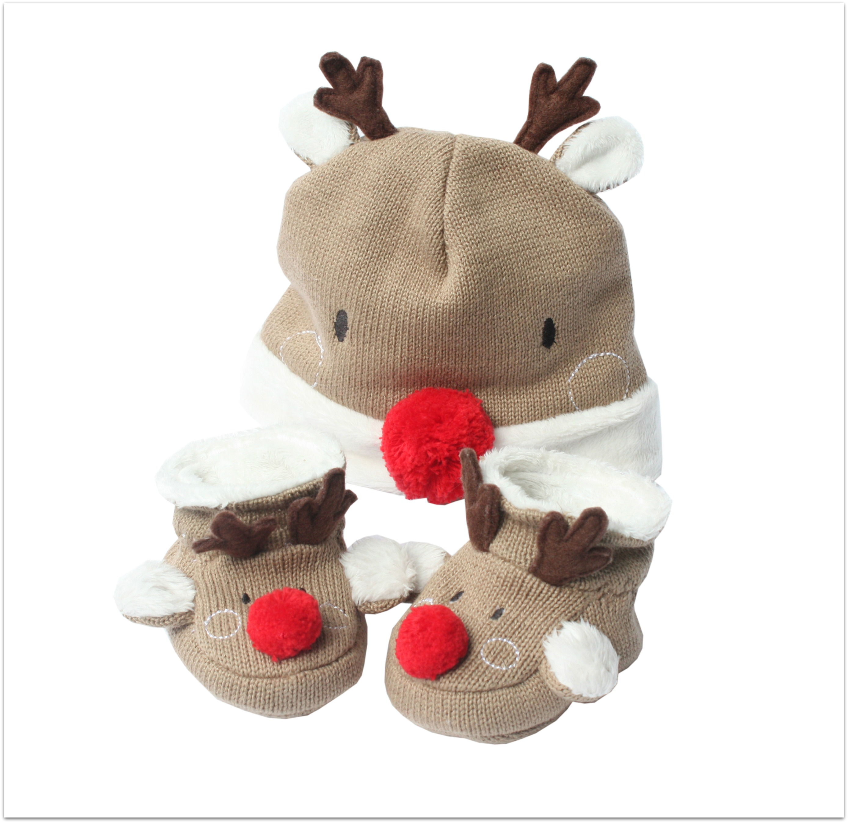 REINDEER HAT BOOTEE SET Cut out